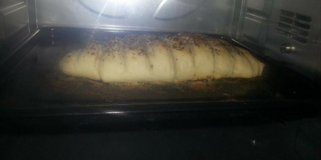garlic bread in oven