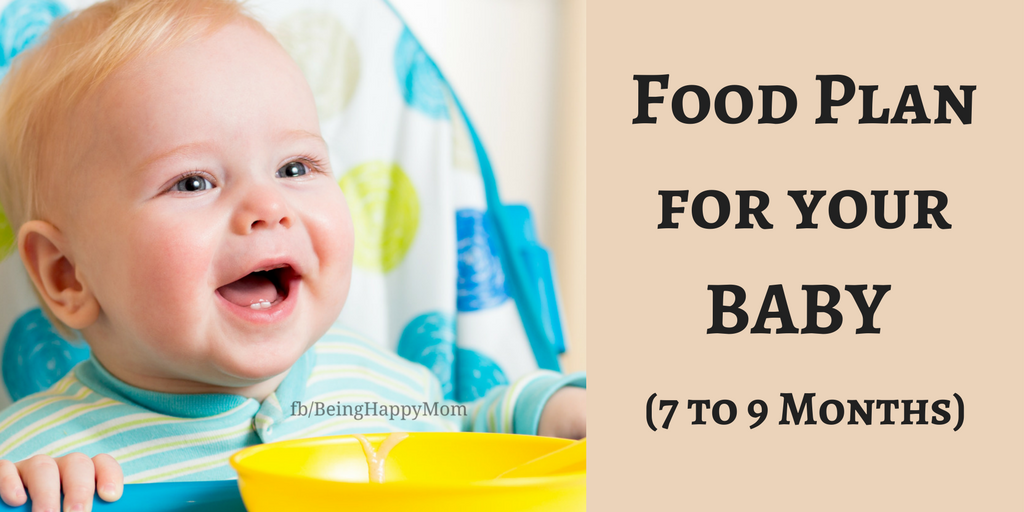 Food food chart from 7 to 9 months