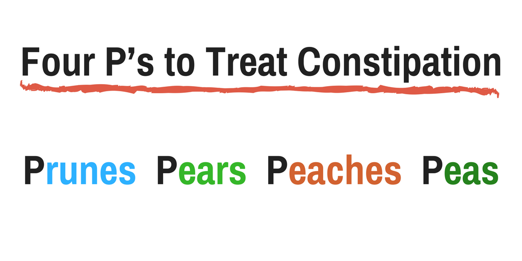 Four P's play an important role in treating constipation in babies.Prunes Pears Peaches Peas