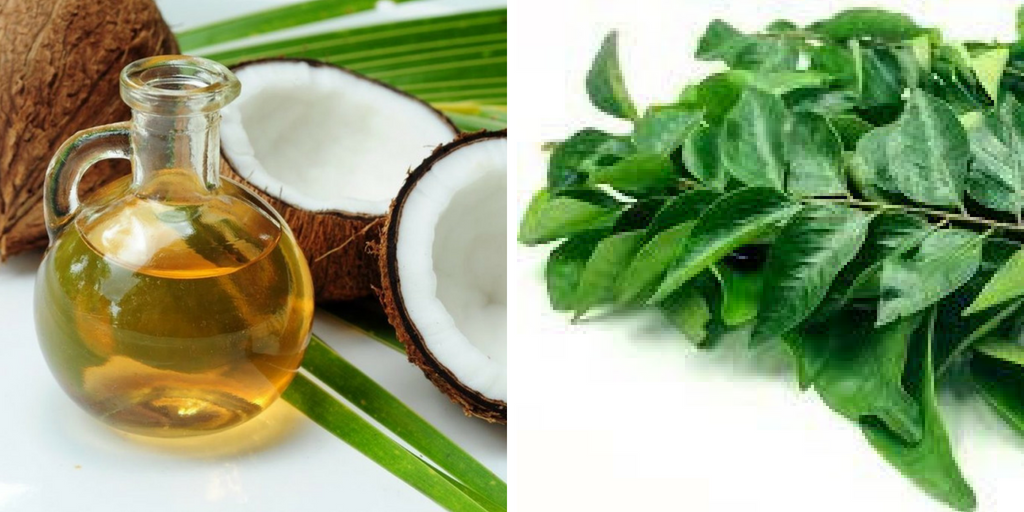 hair growth mask - curry leaves and coconut oil